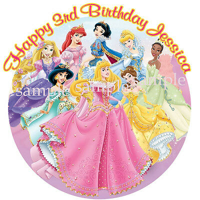 PRINCESS Round Edible ICING Image Birthday CAKE Topper Decoration Disney
