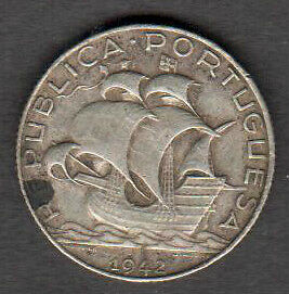 "Portugal  1942 Silver 2.50 Escudos ""ship"" See Pictures"