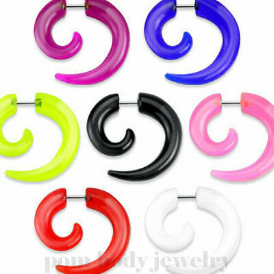 PAIR 2GA FAKE ACRYLIC SPIRAL TAPER Solid Color Ear Cheater Plugs