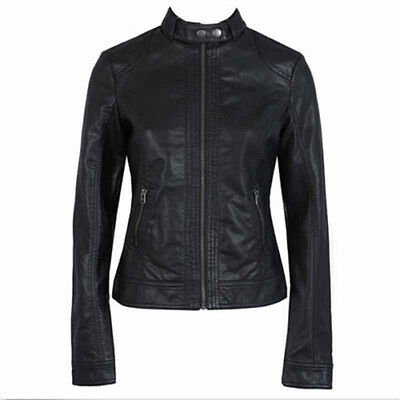 Wholesale Women's Fashion Motorcycle Leather Jacket Zip Slim Coat XS-3XL Black