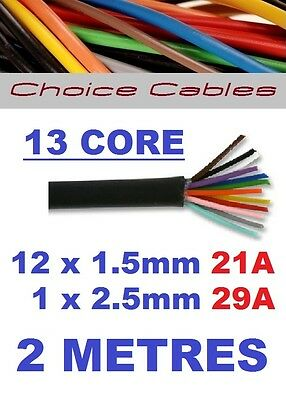 13 CORE AUTO CABLE 1.5mm 21 AMP + 29AMP CAR BOAT WIRE 2 METRE THINWALL 1.5MM  2M