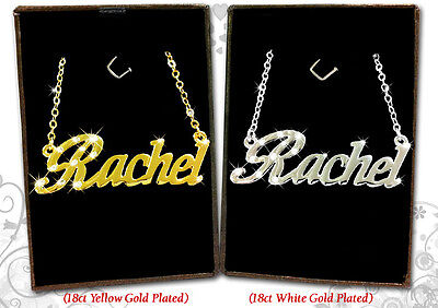"""Christmas Birthday Personalised Gift 18ct Gold Plated Name Necklace /""""RACHEL/"""""""