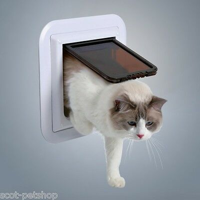 Trixie 4-Way Cat Flap XL Glass Fitting Cat Flap White