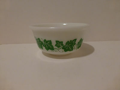 Vintage Hazel Atlas 7 inch White Mixing Bowl with Green Ivy Leaves   (S3