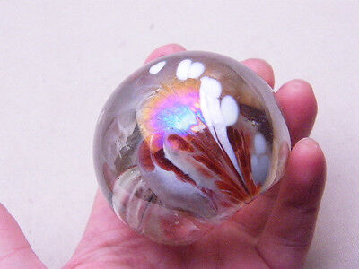 PAPERWEIGHT ART GLASS IRIDESCENT GOLD WHITE RED BUBBLE