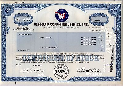 Wheeled Coach Industries Stock Certificate Florida Collins