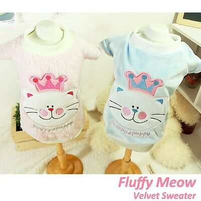 Luxury Pet Apparel- Fluffy Meow Sweater Blue&Pink Small-XLarge CuteClothes