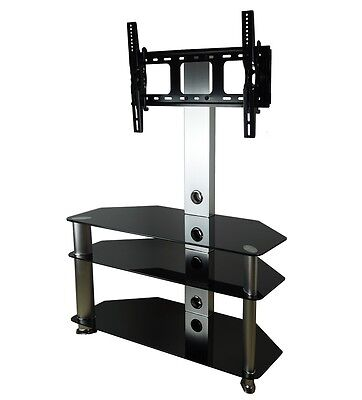 "Black Glass Cantilever TV Stand  / Silver Aluminium Upright and Legs 32""- 52"""