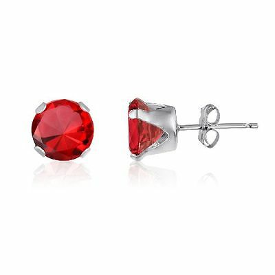 Sterling Silver Elegant 5mm Round CZ Stud Earrings Choose Your Color
