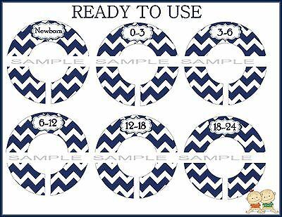 PRE-ASSEMBLED  Designer Closet Dividers in Navy Chevron Stripes for Babies
