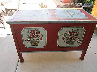Large Antique German Hand Painted Legged Wedding Chest Trunk
