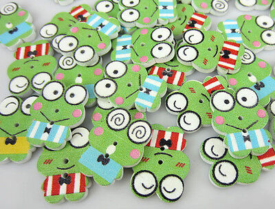 Free Shipping 100PCS Mixed Frog Pattern Painting Wood Buttons 17 x 22mm