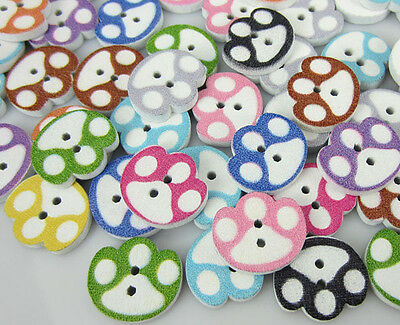 Free Shipping 100PCS Mixed Printed Pattern Painting Wood Buttons 14 x 16mm