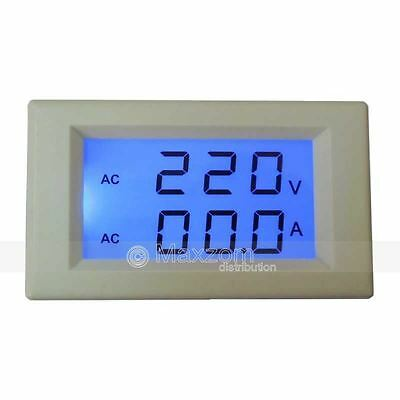 Dual Display AC 500V 50A Blue LCD Amp Volt Combo Panel Meter Buildin Transformer