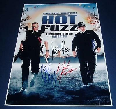 HOT FUZZ MOVIE CAST x3 PP SIGNED POSTER 12X8 SIMON PEGG