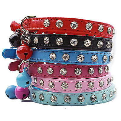 ~Cat Safety Collar Charming Crystal Leather~Purple-Red-Blue-Pink & Black~30cm~