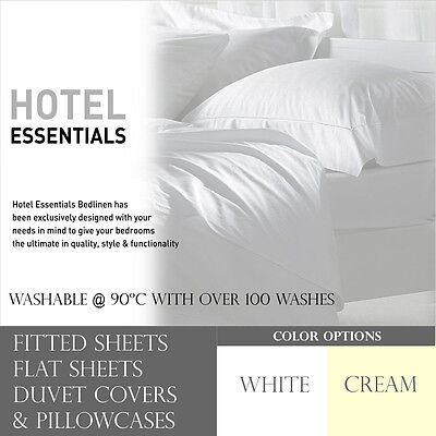 Hotel Essentials Solid Luxury Polycotton Full Fitted / Flat Sheet & Pillowcases