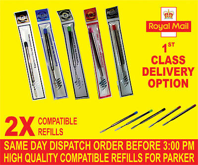 Quality 2 X Parker Compatible Broad Refills For Ballpoint Medium Red/Green/Pink