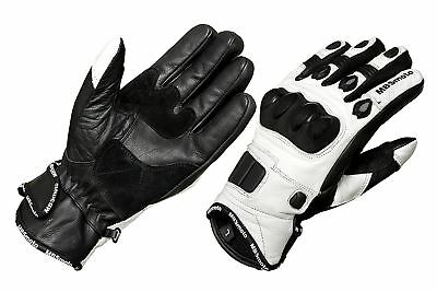 White Black Short Leather Knuckle Protection Motorbike Motorcycle Gloves Summer