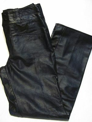 vintage UNWORN SEARS BLACK LEATHER MOTORCYCLE RIDING PANTS 70s size 30x31