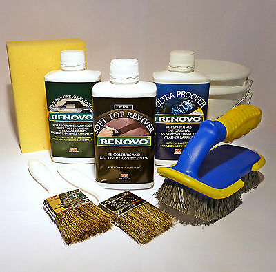 """Renovo """"BLACK"""" Convertible Hood Soft Top Reviver COMPLETE KIT with brushes etc."""