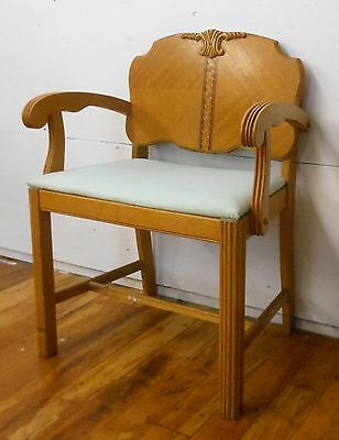 Art Deco Maple Armchair w/ Inlay Backrest Vintage 1930's Scrolled Arms