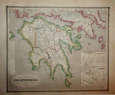 1853 Reichard - Forbiger Map ANCIENT PELOPONNESE Greece Scholarly and Decorative