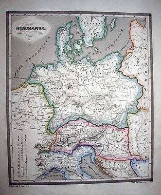 1853 Reichard - Forbiger Map ANCIENT GERMANY Roman Empire Historical Cartography