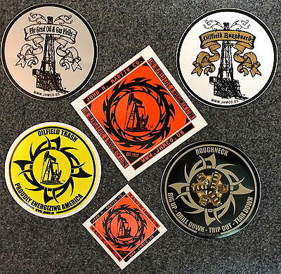 6 Oilfield Hardhat Stickers Roughneck Drilling Rig Oil trash decals frac gas bit