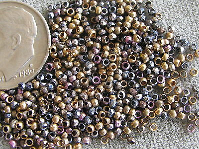 Antique French Cut Steel Beads Gold Silver Bronze Blue Amethyst