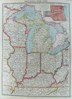OLD MAP UNITED STATES AMERICA  CENTRAL CHICAGO c1906 by G PHILIP PRINTED COLOUR