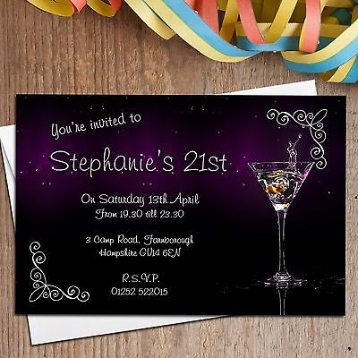 10 Personalised Cocktail 18th 21st 30th 40th Birthday Party Invitations N138 2