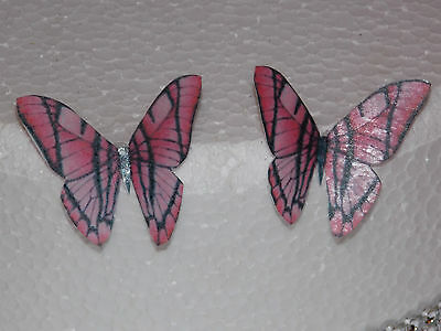 12 PRECUT Pink Edible wafer/rice paper Butterflies cake/cupcake toppers(4)