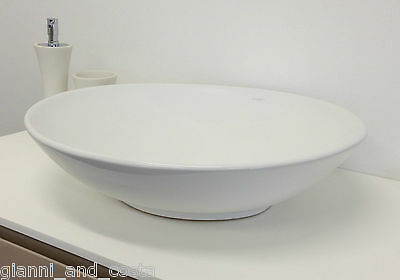 Bathroom Ceramic Oval Above Counter Top Basin For Vanity Includes Pop - Up Waste