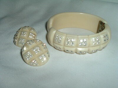 Vintage Ivory Colored Bakelite And Rhinestone Cuff Bracelet & Earrings Set