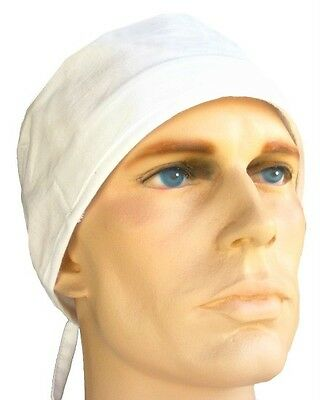 Sweatband Hat White Chef Cook Restaurant Cap Self Tie