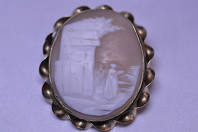 Antique Signed Large Gold Filled Scenic Shell Cameo Pin With Twist Frame