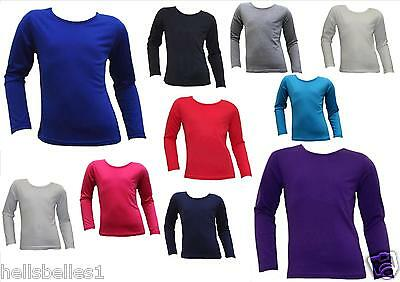 Girl's Long Sleeve Plain Tops 2 3 4 5 6 7 8 9 10 11 12 Years
