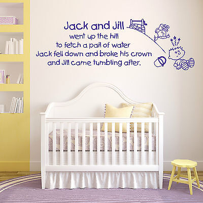 Jack and Jill Went Up The Hill NURSERY RHYME childrens room  WALL ART DECAL