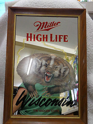 MILLER HIGH LIFE BEER CO.,WISCONSIN-THE BADGER STATE,BAR ADVERTISING SIGN (RARE)