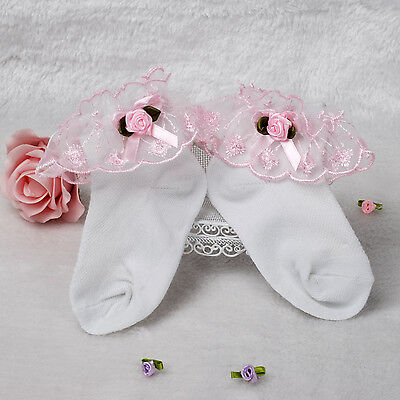 New Girls Lace Frilly Christening Socks in White,Pink,Lilac,Blue,Yellow 1-8 Year