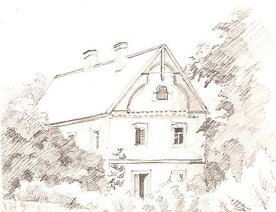 Estate of the baron Russian vintage Graphite pencil 1982 USSR art Beautiful work