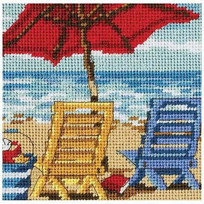 NEEDLEPOINT Dimensions Kit BEACH CHAIR DUO Summer Red Blue 5x5 NEW