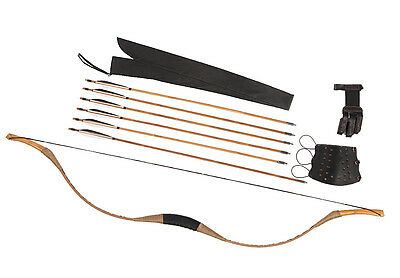 Handmade Chinese Bow 6 Bamboo Arrows Pigskin Hunting Recurve longbow 15-80LBS