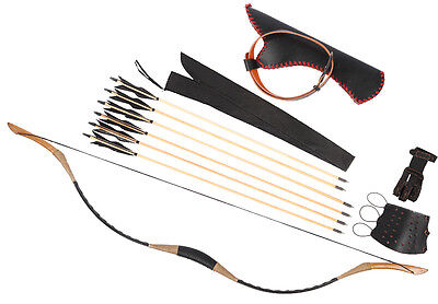 Black 6 Wooden Arrows Cow Leather Hunting Recurve Longbow HorseBow Waist Quiver