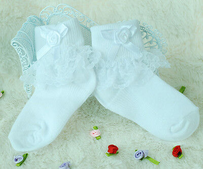 New Baby Girls Lace Frilly Christening Socks in White,Pink 0-6 Months