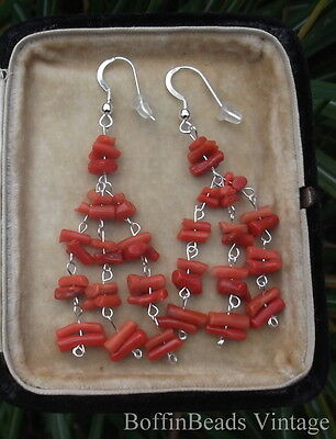 CORAL TASSEL EARRINGS to match vintage Victorian/Edwardian necklaces .925 silver