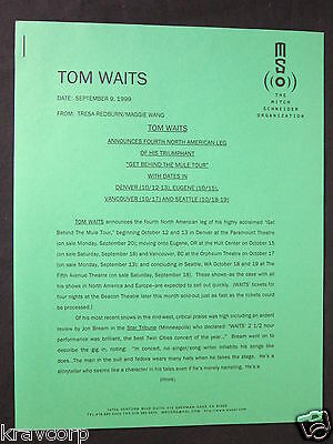 Tom Waits—1999 Press Release