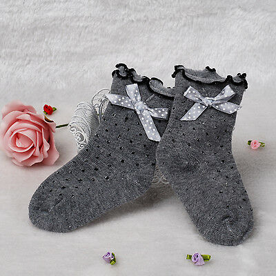 New Girls Frilly Dotted Socks in White,Grey,Black 1-4 Years