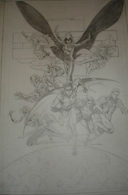 The NEW TEEN TITANS Painted Cover 21 GEORGE PEREZ Robin WonderGirl Aqualad Flash
